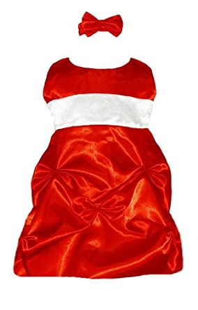 Amazon.com: Baby Christmas Dress Holiday Red Satin (3M to 24M ...
