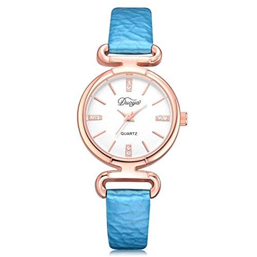 Perman Womens Wrist Watch, Duoya D216 28MM Analog Pointer Quartz Artificial Diamond PU Leather Band - 5 Dollar Fashion