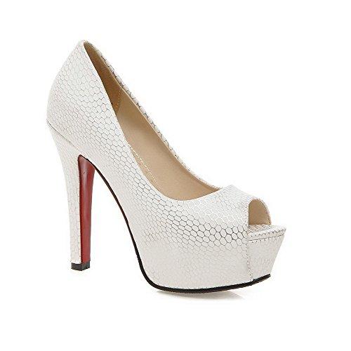 AgooLar Women's Pull-on High-Heels PU Checkered Peep Toe Sandals White ovLkQttrV