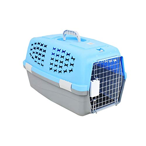 POPETPOP 54x35CM Pet Dog Carrier Box Portable Aircraft Transport Collapsible Cats Dog Carrier Checked Out Box Small Cat Dog Carrier – Medium(Blue)
