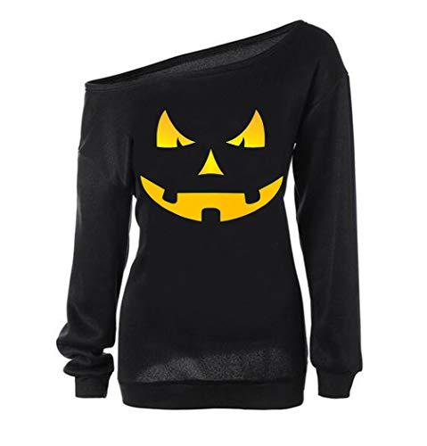 LYXIOF Women Halloween Pumpkin Sweatshirts Off Shoulder Sweatshirt Slouchy Shirts Black A 2XL