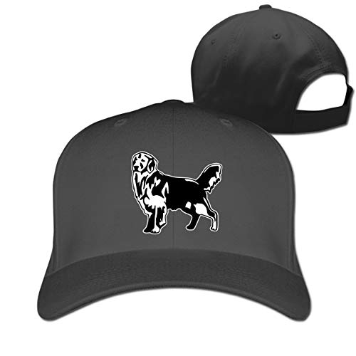 Stylish Baseball Cap, Golden Retriever Dog Hip Pop Flat Bill Cap for Women Men Adjustable Size Black