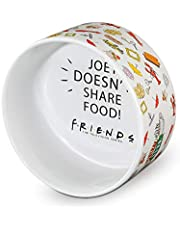 """Warner Bros Friends TV Show""""Joey Doesn't Share Food"""" Ceramic Dog Food Bowl, 6 In   White Dog Bowl, Friends TV Merchandise for Friends Fans   Dog Water Bowl or Dog Food Bowl for Wet or Dry Food"""