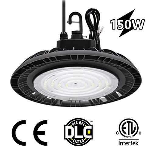 (CINOTON 150W UFO LED High Bay Light ETL Certified, Replacement for 600W HID/Hps, 22500 lumens 1-10V dimmable 5000K Daylight White, IP65 Waterproof,Indoor Commercial Warehouse,Workshop,Wet)