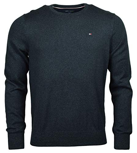 Tommy Hilfiger Men's Cotton Crewneck Logo Sweater - S - Navy Heather
