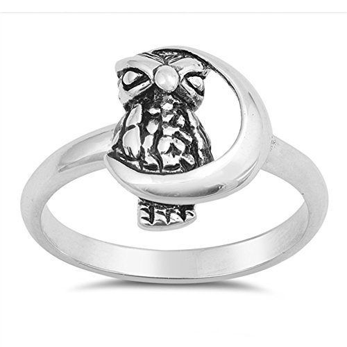 Oxidized Owl Crescent Moon Wisdom Ring New .925 Sterling Silver Band Size 7