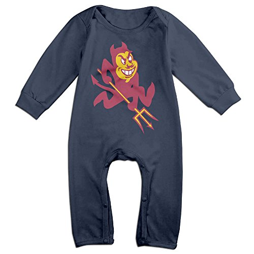 Price comparison product image PCY Newborn Babys Boy's & Girl's Arizona State University Sun Devils Long Sleeve Jumpsuit Outfits For 6-24 Months Navy Size 6 M