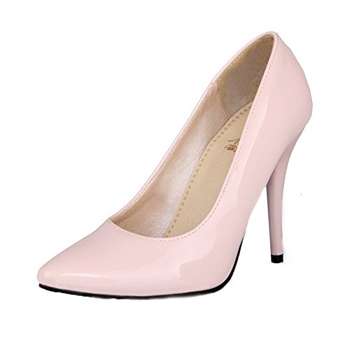 Closed Shoes Leather Pointed Pull Patent Women's Solid Pink Heels WeiPoot On Pumps Toe High IwAx7RIqz
