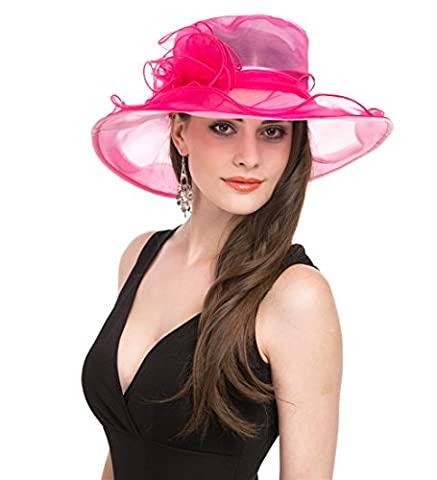 Saferin Women's Organza Church Derby Fascinator Bridal Cap British Tea Party Wedding Hat (Hot Pink) - Pink Party Accessories