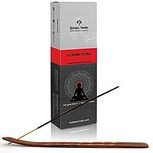 Simply Vedic Golden Flora Premium Incense Stick Agarbatti 250 Grams / 8.8 Oz (Approx 135 Sticks) with Burner for Meditation, Yoga, Spiritual Healing, Prayers, Reiki, Aromatherapy Energy Cleansing. 117
