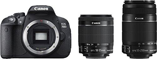 Canon EOS 700D Digital SLR-Kamera (18 Megapixel, 7,6 cm (3 Zoll) Display, Full HD, DIGIC 5) inkl. EF 18-55mm IS STM und EF 55-250mm IS STM Double-Zoom-Kit schwarz