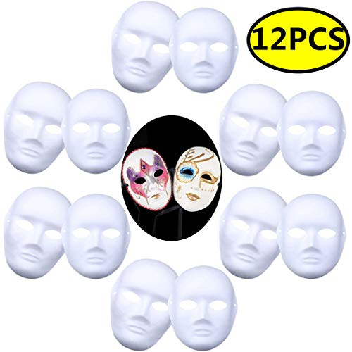 Coxeer DIY White Mask, 12 PCS Paper Full Face Opera Masquerade Mask Plain Mask Halloween Mask Mardi Gras Mask