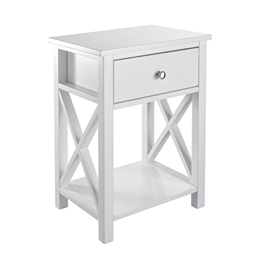 Side End Table Night Stand Storage Shelf with Bin Drawer ()