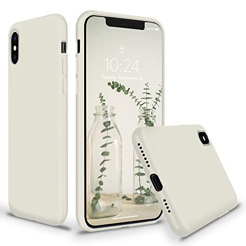SURPHY iPhone Xs Max Silicone Case, Slim Liquid Silicone Protective Phone Case Cover (Full Body Thin Case with Microfiber Lining) Compatible with Apple iPhone Xs Max 6.5, Stone