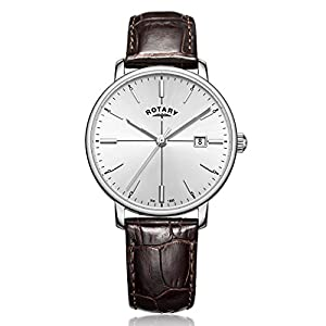 Rotary Men's Quartz Watch with Silver Dial Analogue Display and Brown Leather Strap GS00337/06
