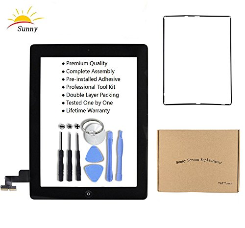 iPad 2 A1395 A1396 A1397 Replacement Screen Digitizer Glass Assembly(Black) - Includes Home Button Camera Holder Pre Installed Adhesive Stickers Bezel Frame and Professional Tool Kit by Sunny
