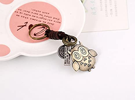 Axixi Men Stainless Steel Leather Animal Keychain Children Handbag Key Ring Car Key Chain Best Gift for Lover Color 5