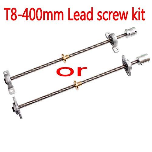 Topsame T8 Lead-Screw 400 mm 8mm + Brass Copper nut + KP08 or KFL08 Bearing Bracket