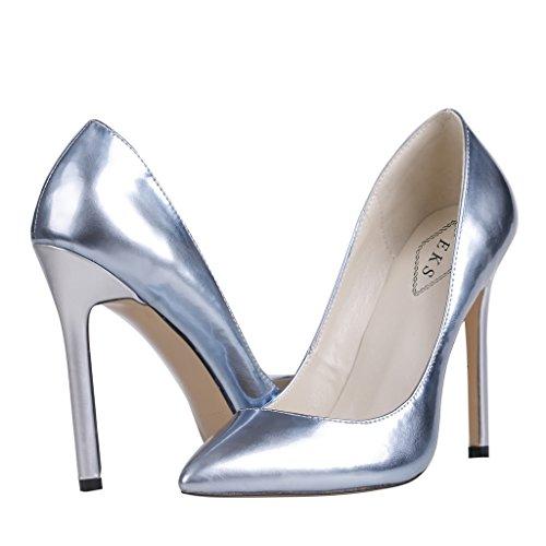 EKS - Merceditas de tacón alto Mujer Plateado - Silber-B