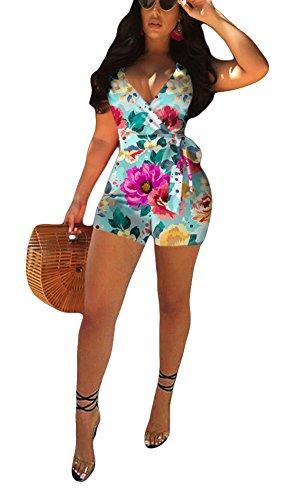 Felicity Young Women's Sexy V Neck Floral Print Tie Waist Spaghetti Strap Boho Summer Short Romper Jumpsuit Clubwear Green, Medium