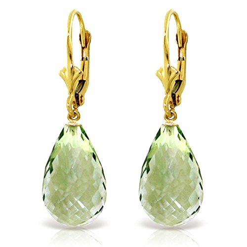 14 CTW 14K Solid Gold Loveliness Green Amethyst Earrings