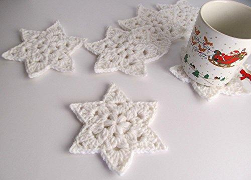 Crochet White Star Coaster Set of 6 / Winter Holiday Table Decor / Six Christmas Coasters / Crochet Heirloom Holiday Tableware / White Crochet Stars / White Star of David Table Decor