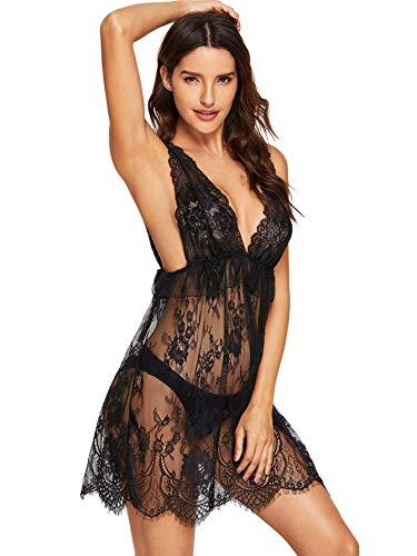 SweatyRocks Women's Scalloped Trim Floral Lace Ruffle Dress with Thong Babydoll Lingerie V-Neck Sleepwear Nightwear Black XXL ()