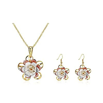 Hot KnSam Jewelry Set for Women Earrings and Necklace Set Round Yellow Hollow [Novelty Jewelry Set] for sale