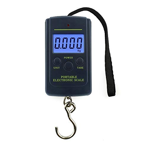 Mini Digital Fish Scale, Electronic Portable Spring Hanging Scale for Kitchen Luggage Postal Balance Weight, 88lb/0.02lb (40kg/10g)