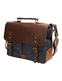 S-ZONE Fashion Canvas Genuine Leather Trim Travel Briefcase Laptop Bag (Dark Grey)
