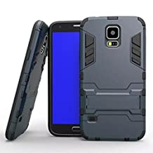 S5 i9600 Case, Lantier [Tire Design Skin] 2 In 1 Combo Rugged Dual Layer [Heavy Duty Case] Detachable Hybrid Slip Robot Impact Advanced Armor Soft Silicone Cover Hard Snap On Case for Samsung Galaxy S5 i9600 with Kickstand Tuff Symbiosis Anti-Scratch, Anti-Slip Protection with Stylus Pen Black