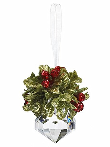 "GANZ 2.5 ""Kyrstal Kiss Ball Ornament, Teeny Mistletoe Jewel - Wedding Acrylic Kissing Crystal-like KK243"