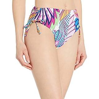 Trina Turk Women's Side Tie High Waist Hipster Bikini Swimsuit Bottom, Multi//Paradise Plume, 14