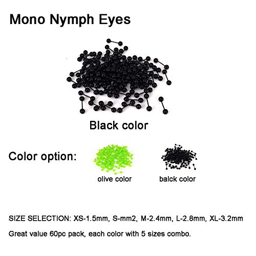 Aventik 60pcs Mono Nymph Eyes Fly Tying Materials Two Colors, Easy to Use, Streamers, Crafts, Baitfish, Spinner Flies, Fresh Water & Salt Water (60pc Black Color(5 Sizes Each 12pc))