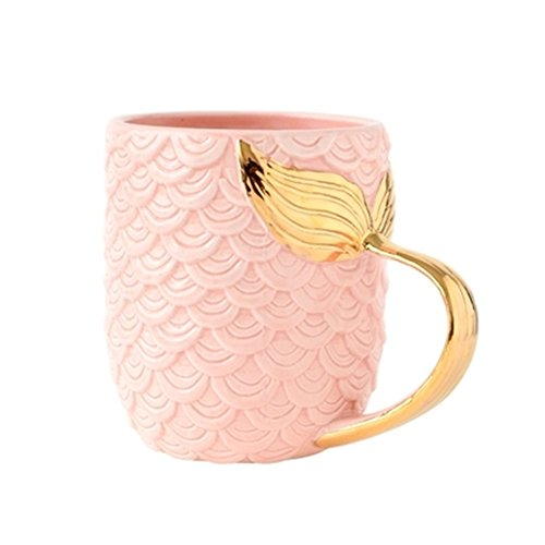 ZaH 15 oz Mermaid Mug Ceramic Coffee Mugs Big Cute Cups Cappuccino Teacup Birthday Bridal Shower Engagement Wedding Gifts Soup Mug for Men Women Kids Girls Boys (Gold Handle Pink Mermaid Tail)