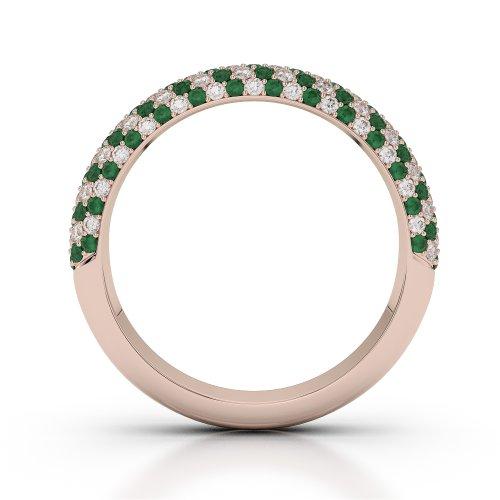 Or Rose 18carats 0.75CT G-H/VS Certifié Coupe ronde Émeraude et diamants Agdr-1118