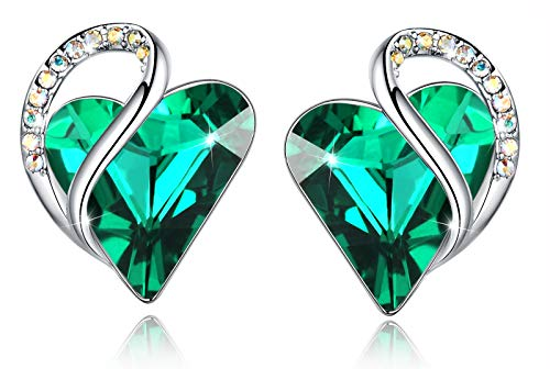 """Leafael""""Infinity Love"""" Heart Earrings Made with Swarovski Crystals Emerald Green May Birthstone Jewelry Gifts for Women, Silver-tone"""