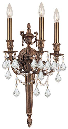 (Crystorama 753-MB-CL-MWP Crystal Accents Three Light Sconces from Arlington collection in Brassfinish, 7.00 inches)
