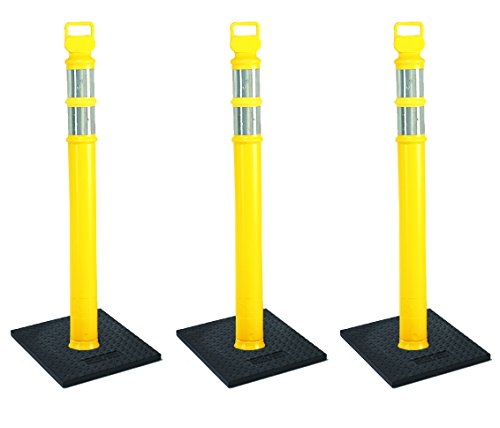 "Cortina EZ Grab Delineator 45"" Post, 3"" Hip Collars with 10 lb Base, 03-747YRBC-3, Yellow, 3 Pack"