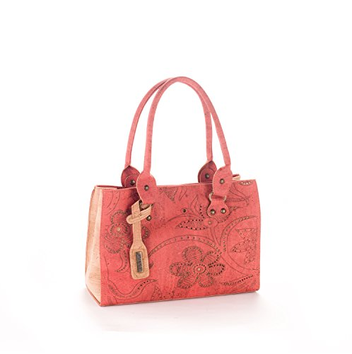 Artelusa Cork Top Handle Handbag Bicolor Coral/Natural Floral Pattern Eco-Friendly Handmade in Portugal