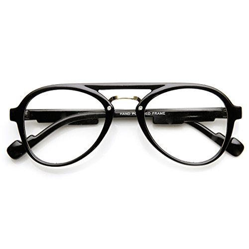 zeroUV - Retro Fashion Clear Lens Double Bridged Spectacle Round Glasses - Spectacles Round Men