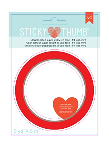 American Crafts Sticky Thumb Super Sticky Red Tape, 0.25