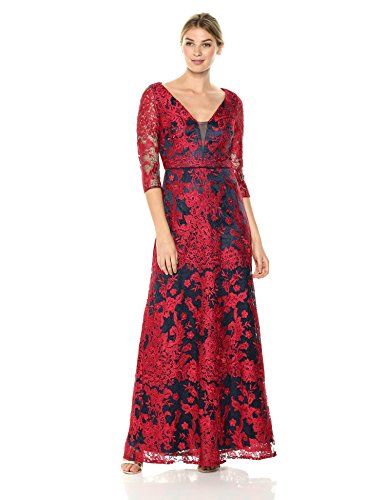 JS Collection Women's 3/4 Sleeve Deep V Lace Gown, red/Navy, 8 ()