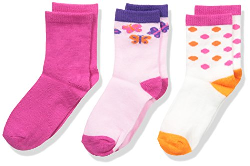 Fruit of the Loom Baby Girl's 3 Pack Scattered Butterfly Crew Socks, Assorted, Shoe: 1.5-4