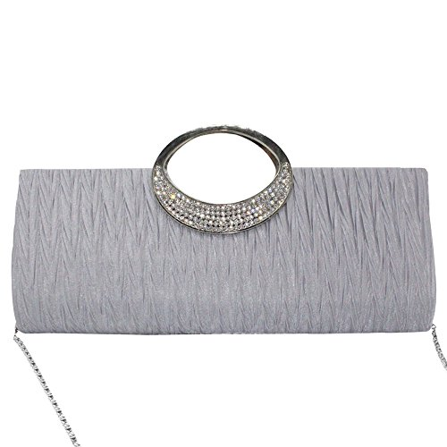 Wiwsi Diamante Tote Satin Silver Pink Lady Clutch Bridal Handbags Party Pleat Women Evening rq4UrZ