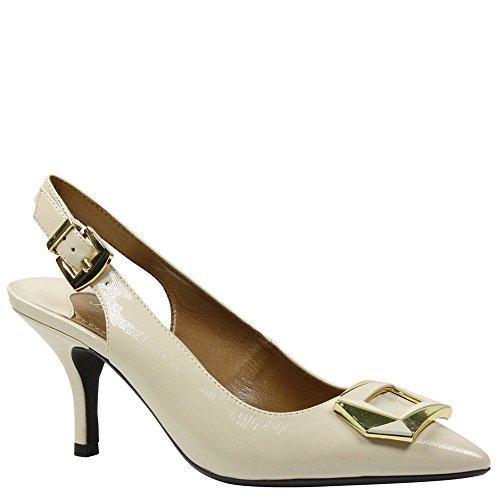 J. Renee Women's Lloret Pointed Toe Slingback,Beige Crinkle Patent,US 8.5 (Crinkle Patent Footwear)