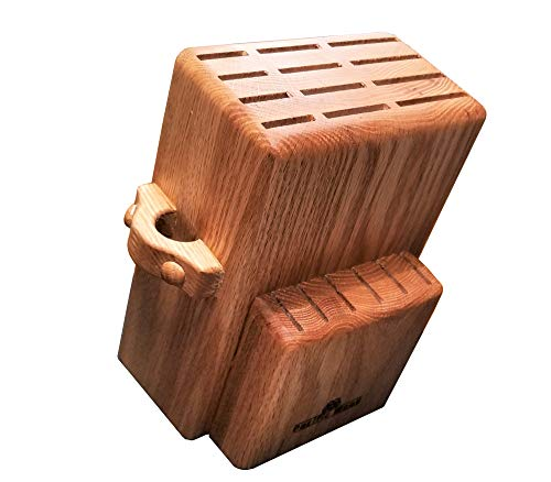 Universal Knife Block Stand Holder Without Knives, 2 Tiers Large Storage, Hold Up To 18 Large and Small Cutlery With a Unique Slot For Scissors. Handmade In The USA From - 9 Slot Knife Oak Block