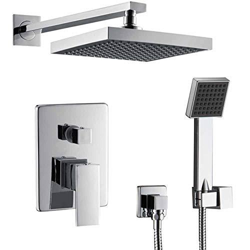 Shower System, Bathroom Shower Mixer Set Chrome Shower Mixer Modern Tap, Exposed Shower Valve with Bath Filler Spout ()