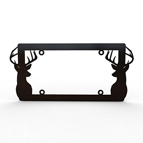 Ferreus Industries Deer Antlers Hunting Black Powdercoat License Plate Frame Cover LIC-153-Black