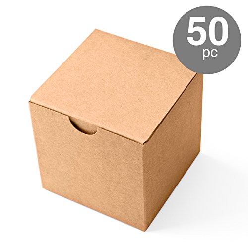 MESHA Kraft Boxes 50 Pack 3x 3 x 3 Inches, Brown Cardboard Gift Boxes with Lids for Gifts, Crafting, Cupcake Boxes